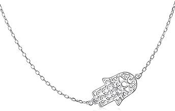 CaliRoseJewelry Sterling Silver Sideways Hamsa Hand Heart Cubic Zirconia Pendant Necklace