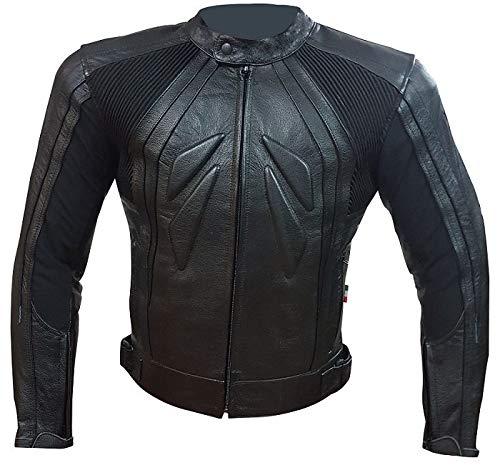 BI ESSE - Giacca Giubbotto in pelle da moto, stile Racing/Sport, sfoderatile, Gilet termico rimovibile, Protezioni Certificate (Nero, s)