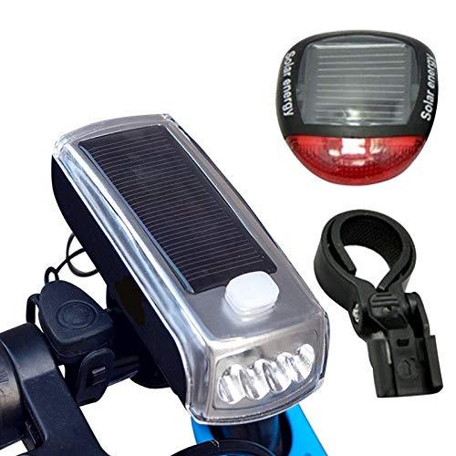 mingyangwl FahrradlichtWasserdichte vordere Fahrrad Scheinwerfer Solar Power Fahrrad Licht mit Bell 5 Modi wiederaufladbare Fahrradlampe