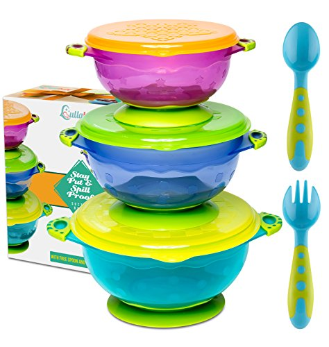 FDA Approved BPA Free 5 Piece Set for Kids and Toddlers UpwardBaby Spill Proof Stay Put Bowls Baby Bowls with Suction Carrying Bag Included Premium Silicone Spoons Set