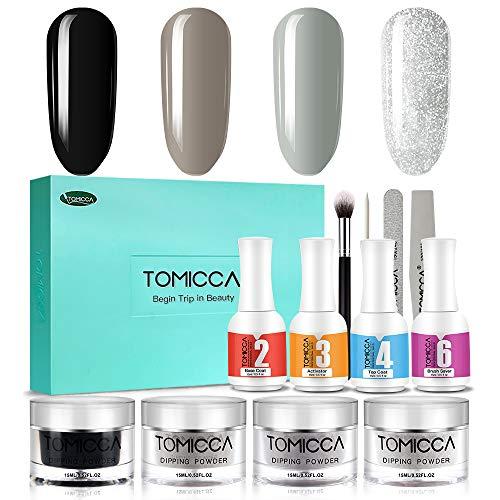 TOMICCA Dipping Powder Starter Kit Acrylpuder für Nägel | Serie Dunkel