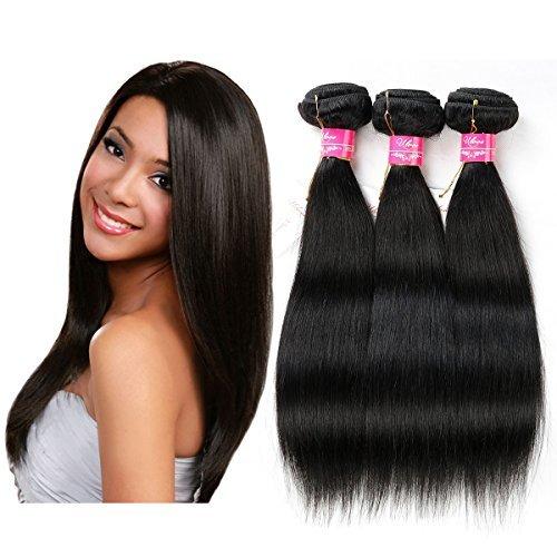 Défrise tissage 100% Virgin Remy cheveux humains Extensions de cheveux de Qualité 6 Grade A Lot de 3 trames, environ 100 g/Couleur naturelle Taille 25,4 cm 30,5 cm 35,6 cm