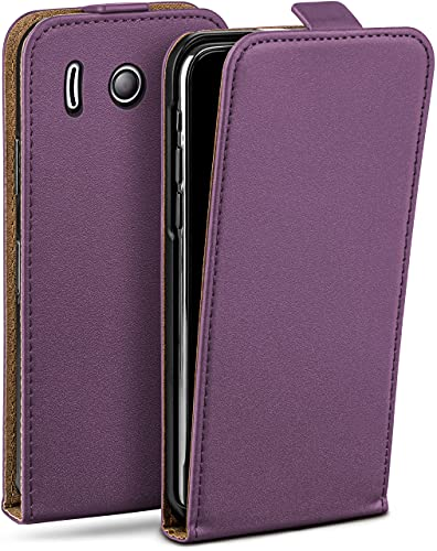 moex Flip Hülle für Huawei Ascend Y300 Hülle klappbar, 360 Grad R&um Komplett-Schutz, Klapphülle aus Vegan Leder, Handytasche mit vertikaler Klappe, magnetisch - Lila