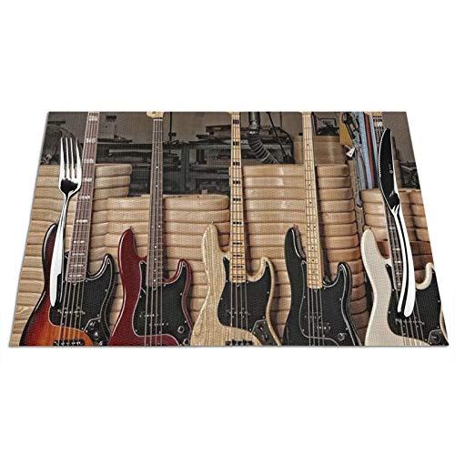 Salvamanteles para mesa de comedor, Fender Guitarra, bajo, juego de 4 manteles individuales de vinilo PVC, resistentes al calor, lavables y antideslizantes, para cocina, restaurante