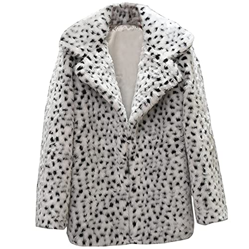 2021 Newest Women Casual Warm Winter Long Lapel Leopard Print Faux Fur Coat