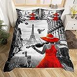 richhome Funda de edredón estilo francés, tamaño King, estilo retro de la torre Eiffel para adolescentes adultos, violín con vestido rojo transpirable, juego de cama gris Sreet