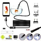 Hands DIY WiFi Endoscopio, Wireless Borescopio, Endoscopio Android 3 in 1, IP67 Impermeabile Telecamere di Ispezione con 6 Luci LED per Smartphone Android iPhone (5M)