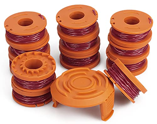 13 Pack WA0010 Replacement Trimmer Line Spool for Worx, 120ft .065 inch, Compatible with Worx String Trimmers (12-Line spools+1 Cap)