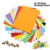Cartulina de colores A4, 100 unidades, 230 g, 20 colores variados, papel de origami, manualidades y decoración, papel de dibujo y corte, papel de impresora de colores (297 x 210 mm)