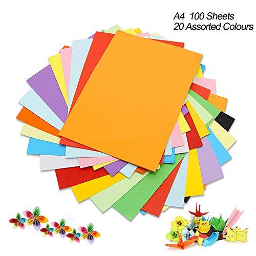 Cartulina de colores A4, 100 unidades, 180 g, 20 colores variados, papel de origami, manualidades y decoración, papel de dibujo y corte, papel de impresora de colores (297 x 210 mm)