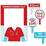 Big Dot of Happiness Nurse Graduation - Medical Nursing Graduation Party Selfie Photo Booth Picture Frame and Props - Printed on Sturdy Material