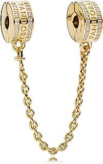Logo Safety Chain 18k Gold Plated PANDORA Shine Collection Charm - 767027CZ-05