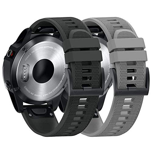 ANBEST Kompatibel mit Fenix 5/5 Plus/Fenix 6/Fenix 6 Pro Armband in Silikon, 22mm Schnelle Veröffentlichung Uhrenarmband für Forerunner 935/945/Approach S60/Quatix 5 Smart Watch(Schwarz/Grau)