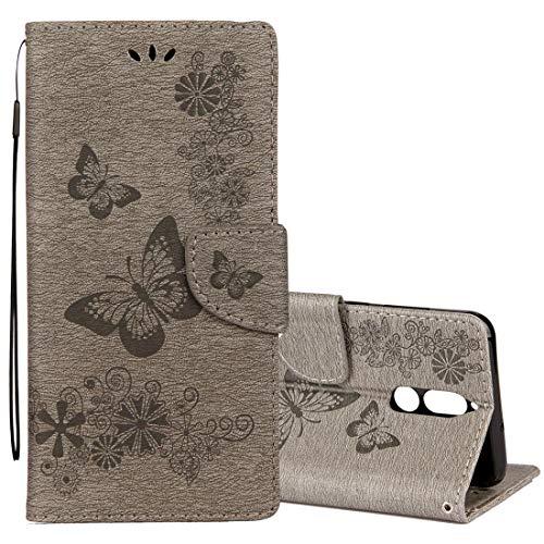 Teléfonos móviles casos de cuero Huawei Mate 10 Lite Vintage estampado floral en forma de mariposa Horizontal Funda de cuero con tapa y ranura para tarjeta y billetera y cordón La caja del teléfono