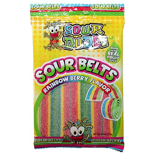 Sour Dudes (1) Bag Sour Belts - Rainbow Berry Flavor - Made With Real Fruit Juice Sour & Sweet Candy - 4.5 oz