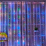 BLBO Cadena de luces de cortina de hadas para dormitorio 9.8 pies con 300 LED, 8 modos de iluminación para Brithday, decoración de pared interior de fiesta, multicolor