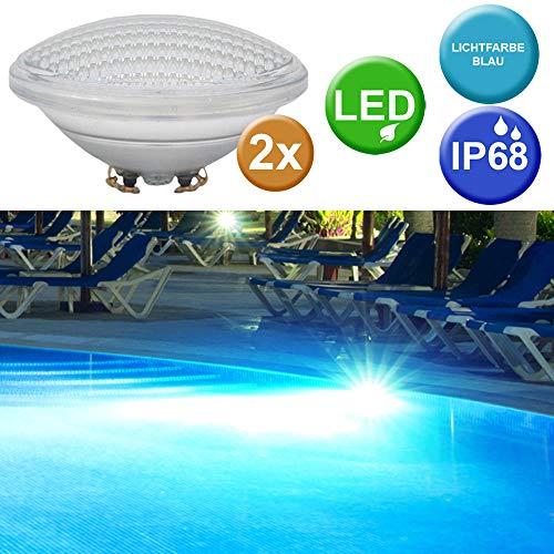 2er Set SMD LED Swimming Pool Teich Scheinwerfer Lampen Leuchtmittel blau PAR56