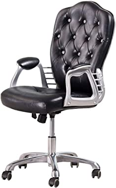 QQXX Office Chair European Style Crystal Faux Leather Aluminum Alloy Foot Adjustable Swivel Computer Desk Chairs Max Load 150kg