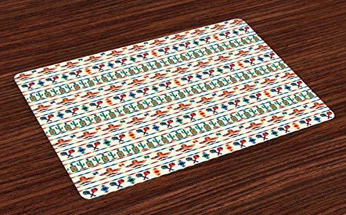 ABAKUHAUS Mexikaner Platzmatten, Lateinamerikanische kulturelle Indigene Grenzen indigenen Saguaro Sombrero Tequila Flasche, Tiscjdeco aus Farbfesten Stoff für das Esszimmer und Küch, Mehrfarbig