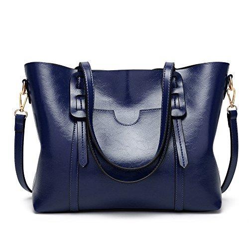 Borsa da donna alla moda, in pelle oliata, semplice, Blu (Blu) - aso-1358