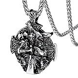 FaithHeart Medalla Redonda Odín Nudo Celta Cruz Acero Inoxidable 316L Collar Metálico Plateado para Hombres y Mujeres Joyería Vikinga Nórdica Retro