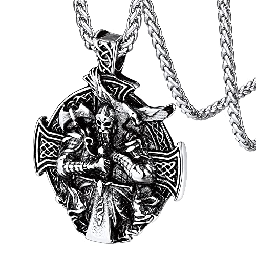 FaithHeart Mens Viking Jewelry, Stainless Steel Norse Mythology Amulet Odin Sword Medallion Amulet, Vintage Celtic Knot Cross Protection Neck Accessory Gift