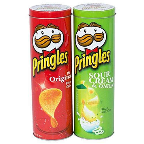 2x de alto 27cm Pringles–Lote de botes, color rojo y verde