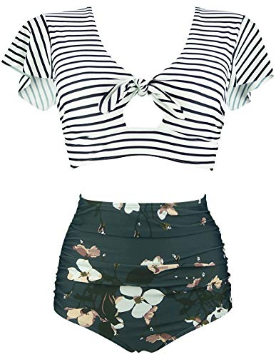 COCOSHIP White Striped & Bloom Floral High Waisted Ruching Bikini Set Tie Front Short Sleeve Top Ruffle Straps Bathing Swimwear 12