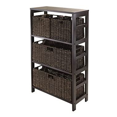 Winsome Granville 5-Piece Storage Shelf with 2 Large and 2 Small Foldable Baskets, Espresso