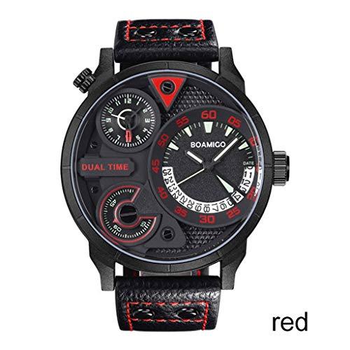 WPCBAA Multi-function Mens horloges mode mannen sport quartz horloge merk dual time datum horloges PU riem waterdichte relogio masculino