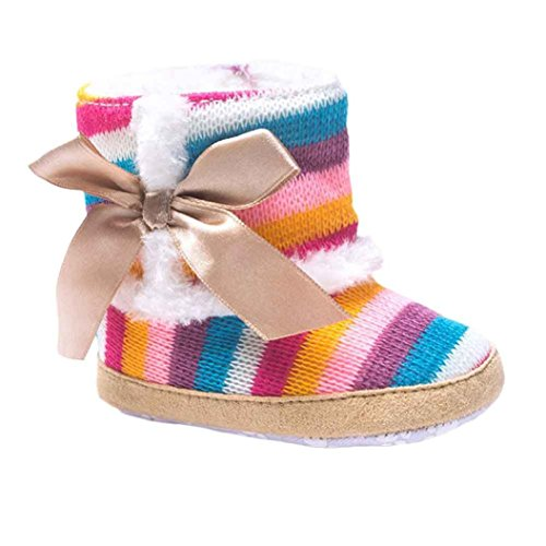 LNGRY Baby Girl Rainbow Soft Sole Snow Boots Soft Crib Shoes Toddler Boots (6-12 Months, Multicolor)