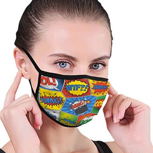 Atmungsaktive Premium Gesichtsschutzhülle,Comic Pop Art Retro-Muster Sprechblasen Bombe Backdro Frauen Männer Anti Wind Staubschutz Schutzhülle Für Skifahren Camping Reisesicherheit, Täglicher Gebra
