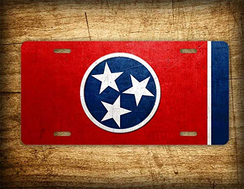 Fhdang Decor Tennessee Flag License Plate TN State Official Flag Symbol Stars Auto Tag 6x12 Aluminum Metal Sign