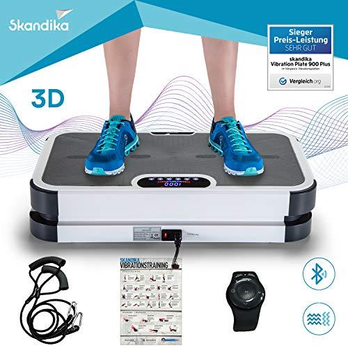 skandika Home Vibration Plate 900 Plus / 900 Smart - Plateforme vibrante oscillante 3D - 5 Programmes - 2 Moteurs - Sangles élastiques - Bluetooth - Télécommande (900 Plus Gris)