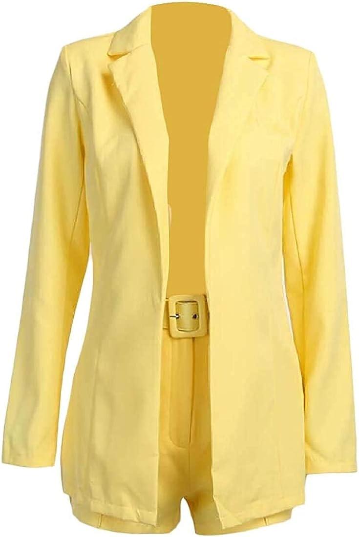 Women's Coat Blazer 2 Piece Set Short Pants Long Sleeve Pure Colour Jacket Office Work Cardigan Suit Outerwear