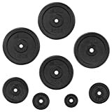 """<span class='highlight'><span class='highlight'>JLL</span></span>® Cast Iron Weight Plates (20kg) - 0.5kg-20kg in Sets of 5kg, 10kg, 15kg, 20kg and 30kg, Suitable for 1"""" Weight Lifting Bars, Home Gym, Weight Training, Fitness, Workout"""