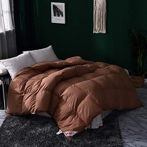 Duvets King Size 13.5 Tog White goose Feather and Down Duvet -100% Cotton Anti Dust Mite & Down Proof Cover-10.5 Tog, Double Size-Coffee color_180x220cm-3000g