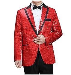 Red Turn-Down Collar Sequin Glitter Blazer Jacket