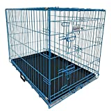 HugglePets Dog Puppy Cage Plastic Tray 2 Doors Dual Locks Foldable Carry Handle Lightweight (Small, Blue)
