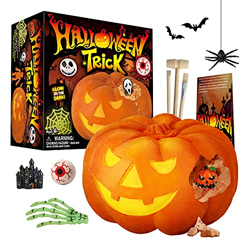 XXTOYS Halloween Pumpkin Dig Kit – Dig and Discover 12 Halloween Toys, Ghost, Spider, Jack-O-Lantern and More- Science Kit for Boys & Girls, Halloween Party Favor, Treat Bag, Gifts for Kids