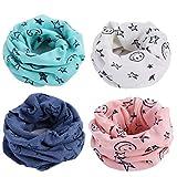 Richaa 4 Pcs Infinity Foulards pour Enfants, Hiver Enfants Garçons Filles Coton Multi Utilisation Cou Plus Chaud Écharpe Chapeau Bandana
