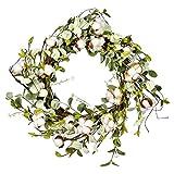 24 White Cotton Mixed Greenery Wreath