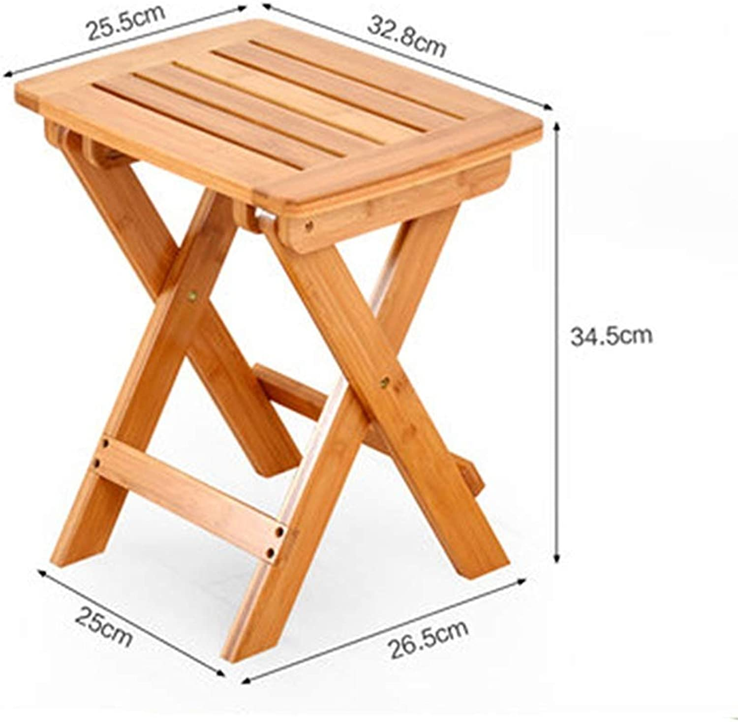 ZHAOYONGLI Footstools,Otools Small Folding Chair Small Bench Terrace Home Casual Armchair Bamboo Wood Stool Stool Feet Free Inssizetion (color   Primary color, Size   32.8  25.5  34.5cm)