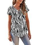 DEARCASE Women's Casual Short Sleeve V-Neck ButtonTunics Tops Blouses T-Shirts Zebra Black X-Large