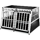 TecTake Cage Box Caisse en Forme de Trapèze Aluminium Cage de Transport Double pour Chien