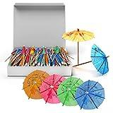 150 Sombrillas de Papel de Cóctel Paraguas de Papel Decorativas para Bebidas Tropicales, Etiquetas de Frutas, Etiquetas de Vino - Decoración de Cócteles y Fiestas en La Playa y Piscina