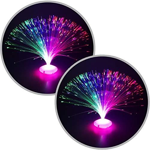 marion10020 2er-Set Glasfaserlampe UFO Glasfaser-Lampe Leuchtfaserlampe Retrolampe Dekolampe 30 cm