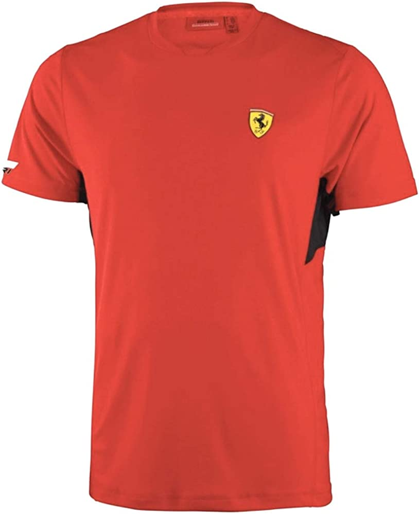 ferrari t-shirt maglietta a maniche corte da uomo 90% poliestere 10% elastan fb6111 b-med