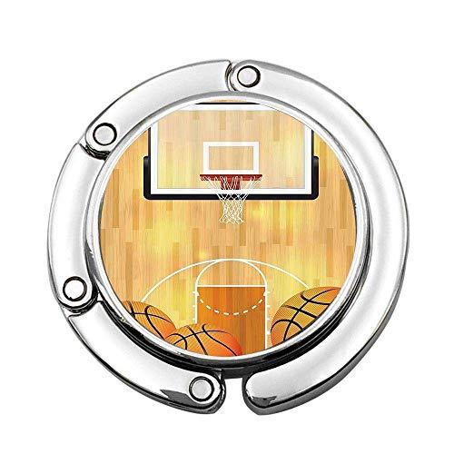 Basketball Court Ball und Hoop Madness Rim Court Parkett Hartholz Bilddruck Faltbare Handtasche Kleiderbügel Geldbörse