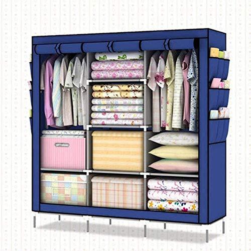 CXVBVNGHDF Wardrobe Fabric Wardrobes Kids Wardrobe with 4 Clothes Rails, 8 Shelves, 9 Side Pockets for Bedroom, Living Room,Blue